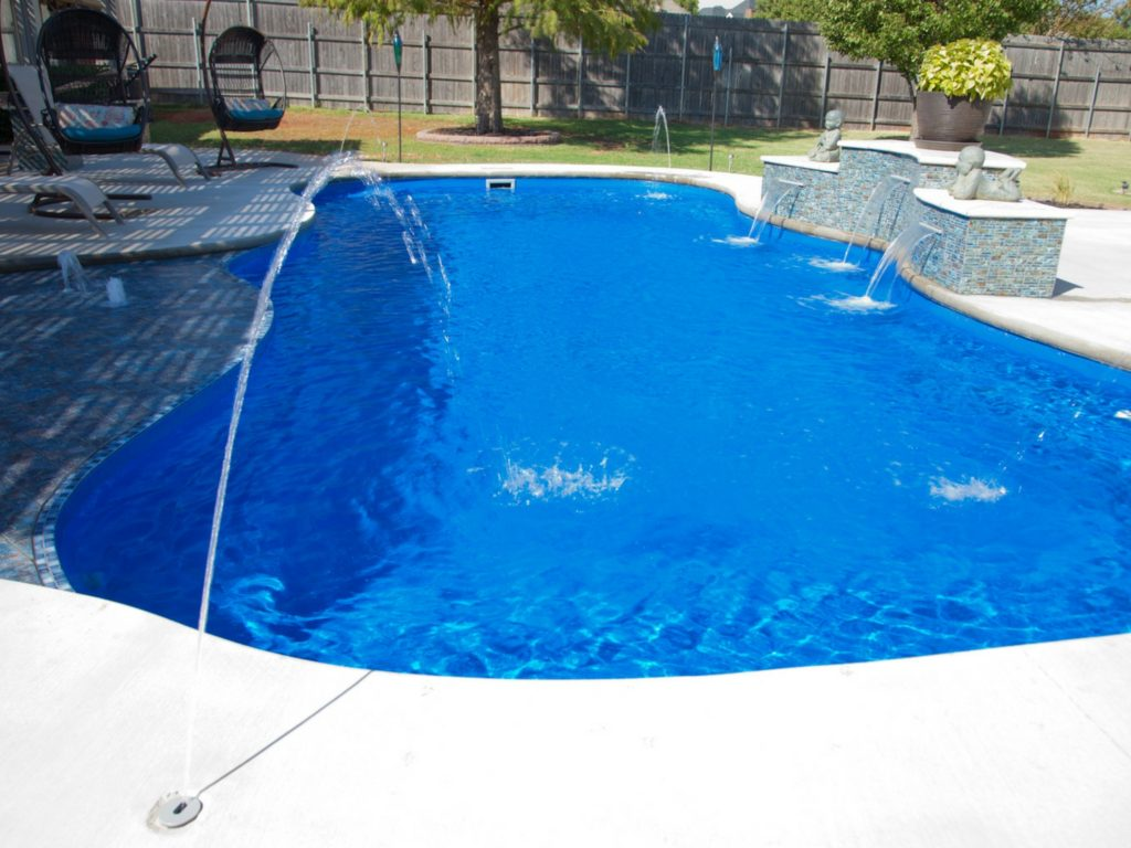 water feature fiberglass pool in san antonio
